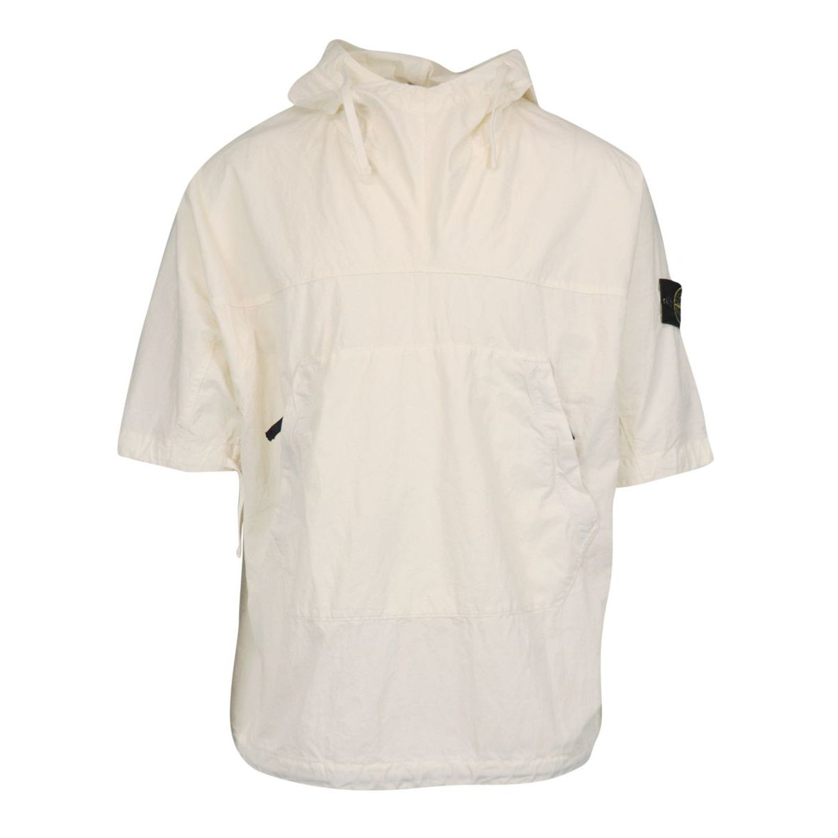 Cotton blend overshirt with pockets and logo patch Ivory Stone Island
