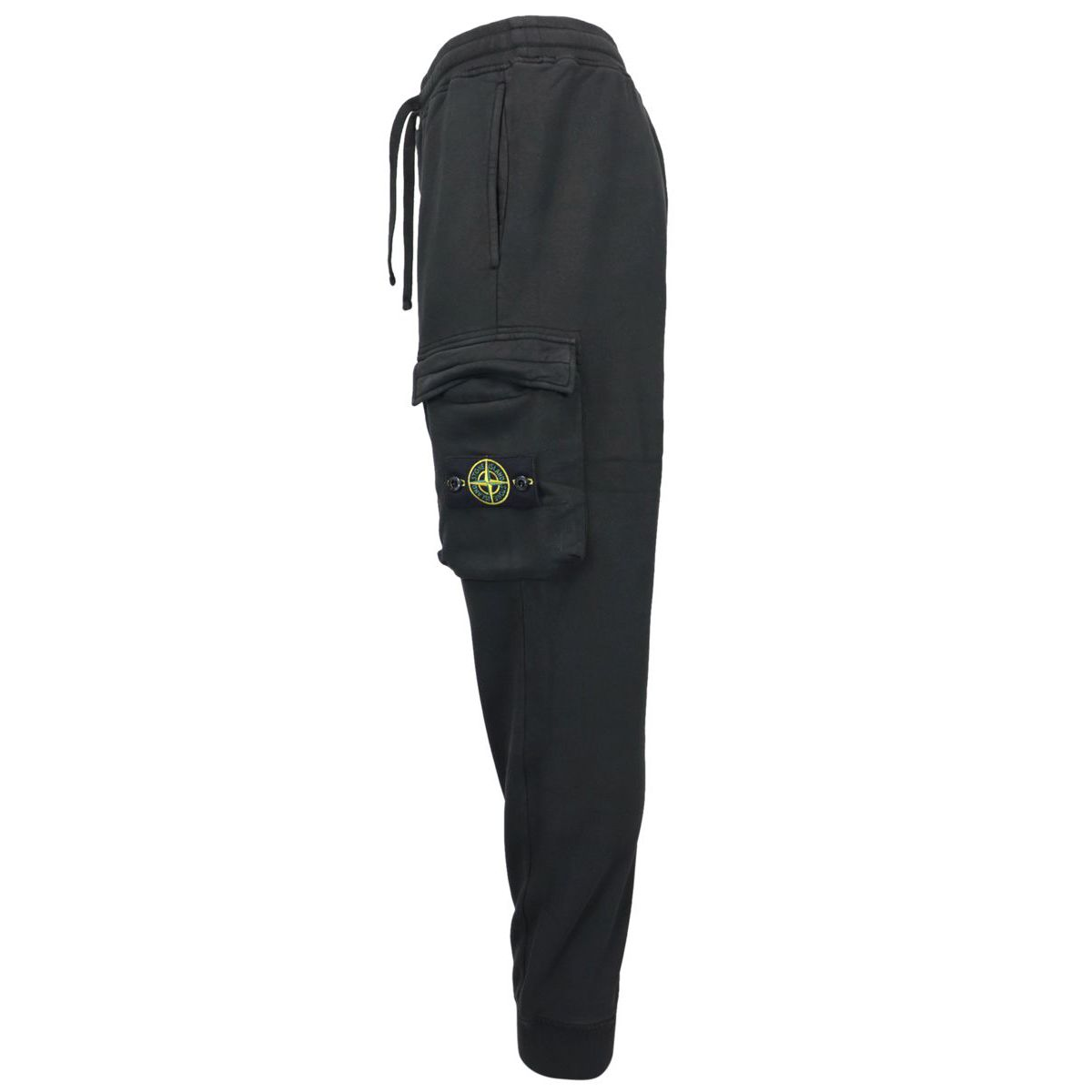 Sporty fleece trousers with cuffs and side pockets Black Stone Island