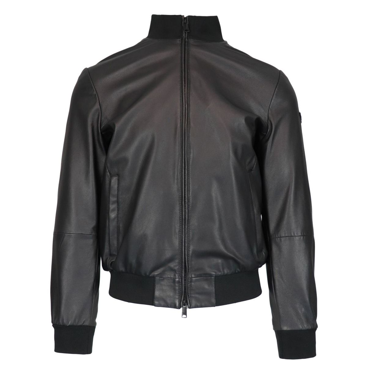 Leather jacket with zip and stretch ribbed profiles Black Emporio Armani