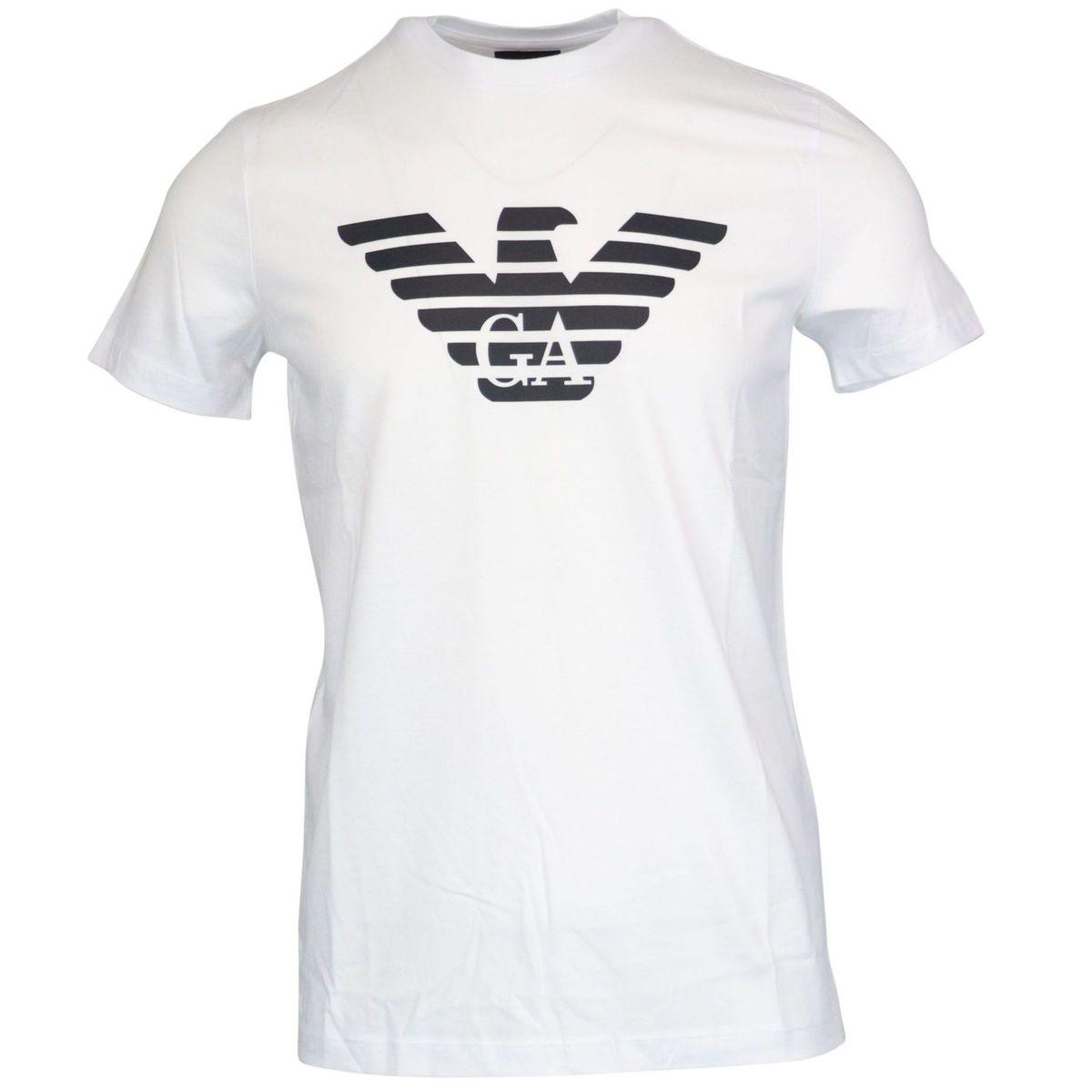 Stretch cotton T-shirt with logo print White Emporio Armani