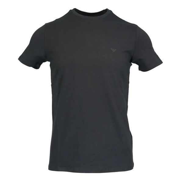 Short sleeve cotton t-shirt with small logo Black Emporio Armani