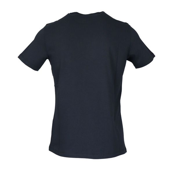 Short-sleeved cotton T-shirt with contrasting logo print Navy Emporio Armani