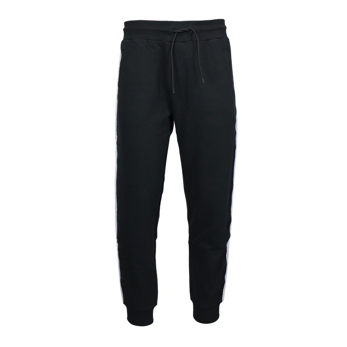 Sporty cotton trousers with logoed side bands Black Emporio Armani