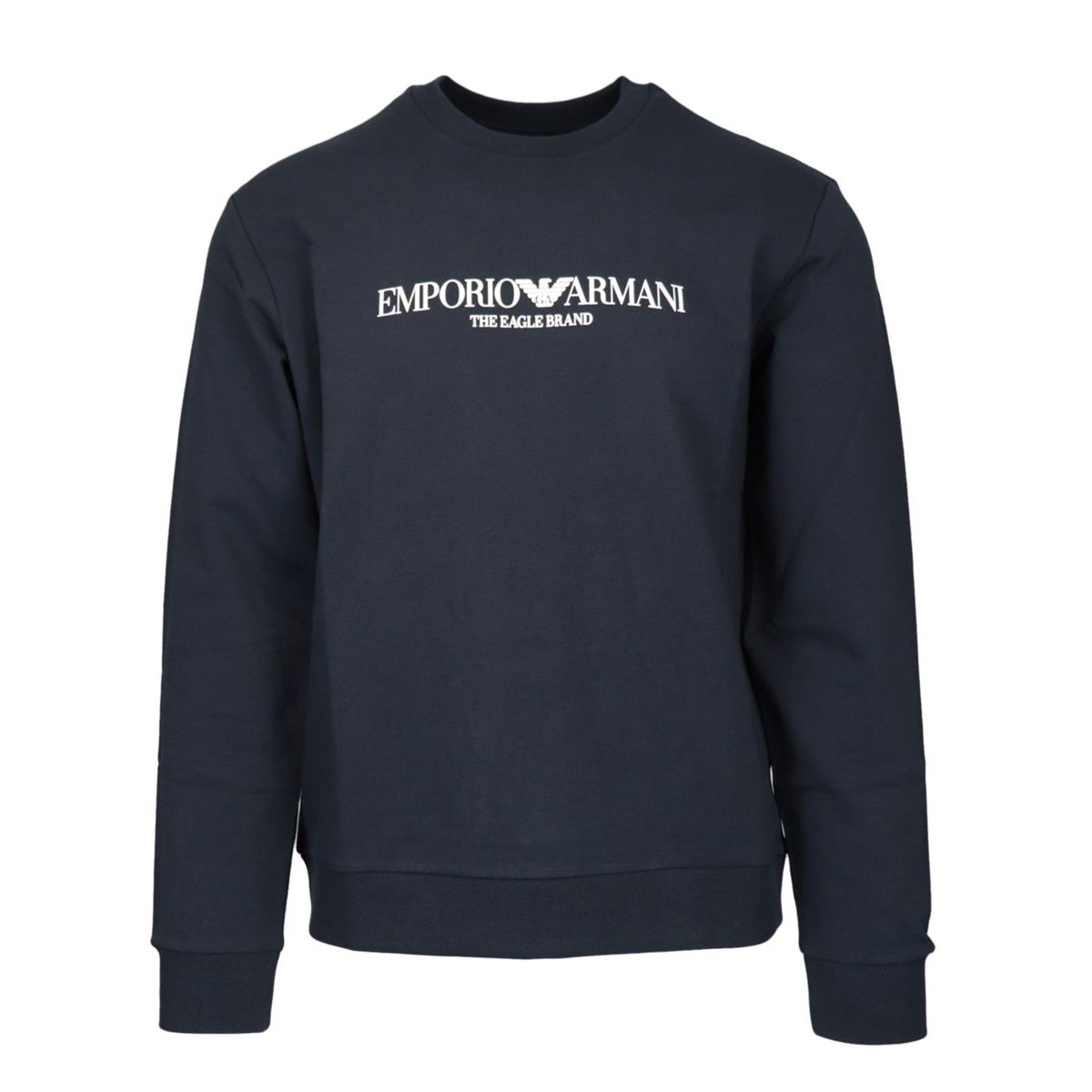Crewneck cotton sweatshirt with contrasting logo print Navy Emporio Armani