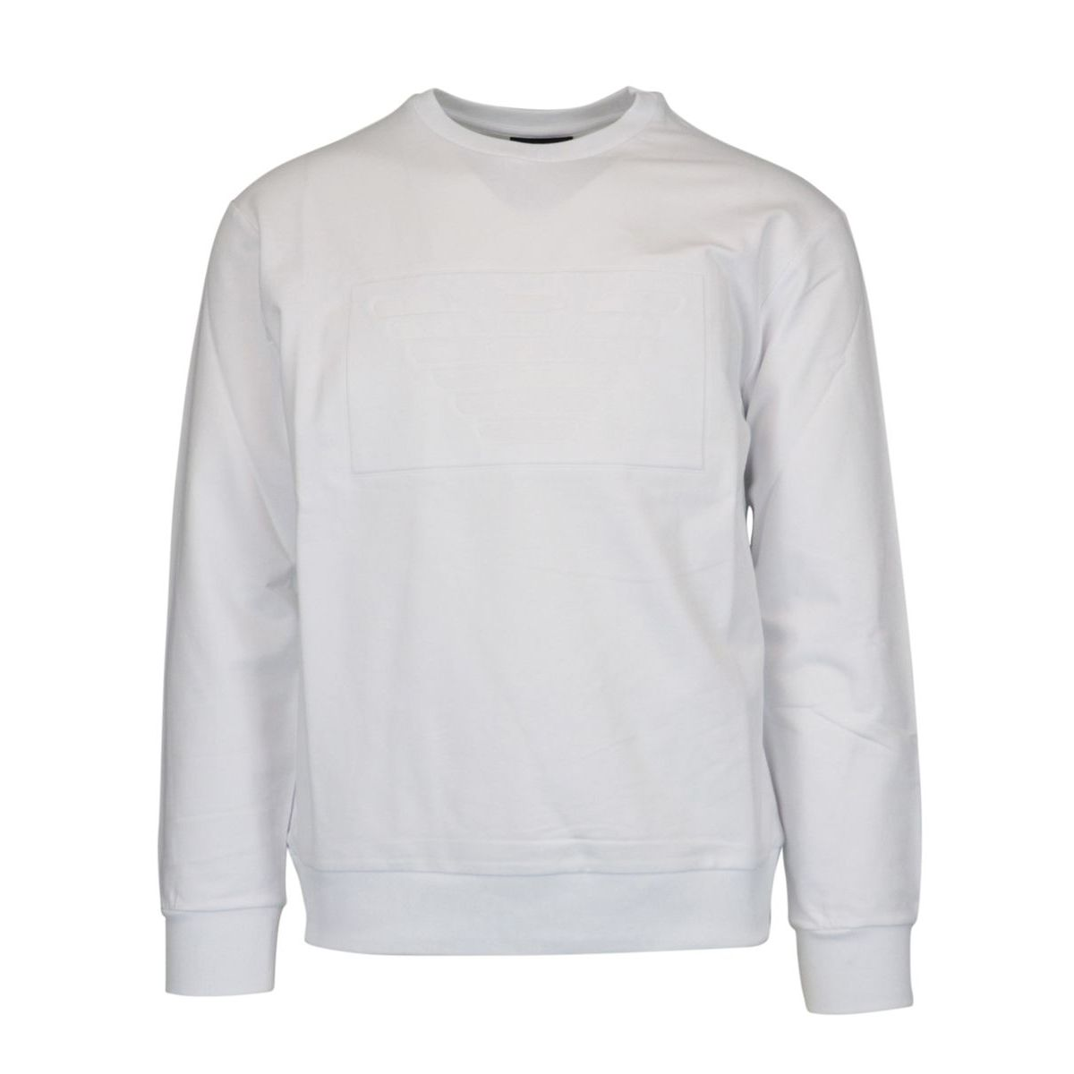 Crewneck sweatshirt with logo printed in stretch cotton White Emporio Armani