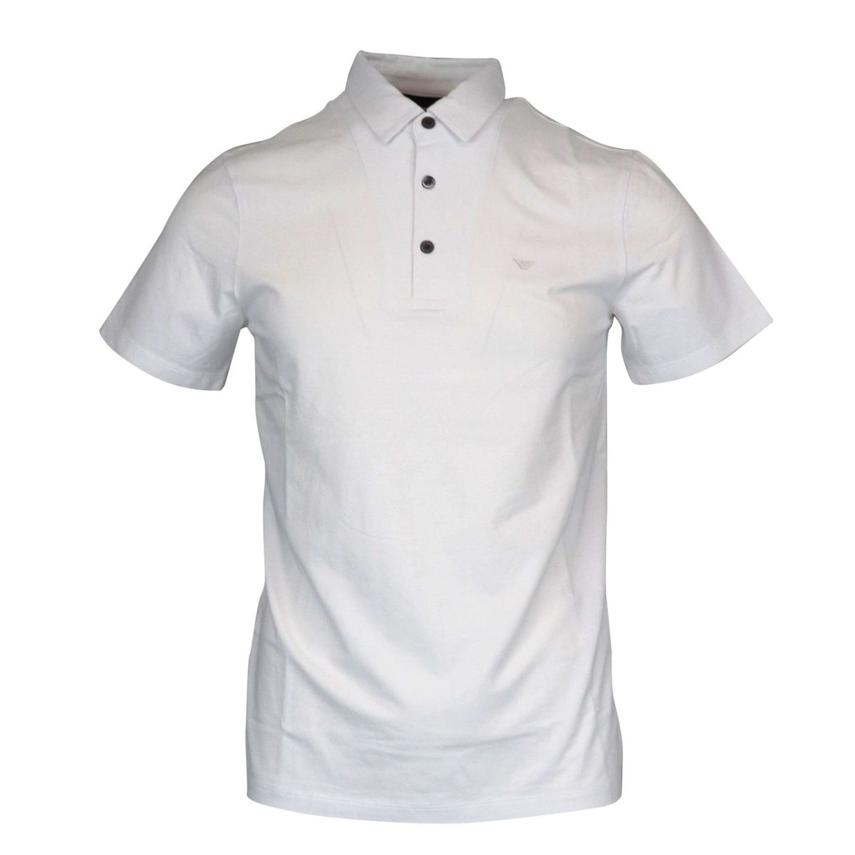 Three button stretch cotton polo shirt with logo White Emporio Armani