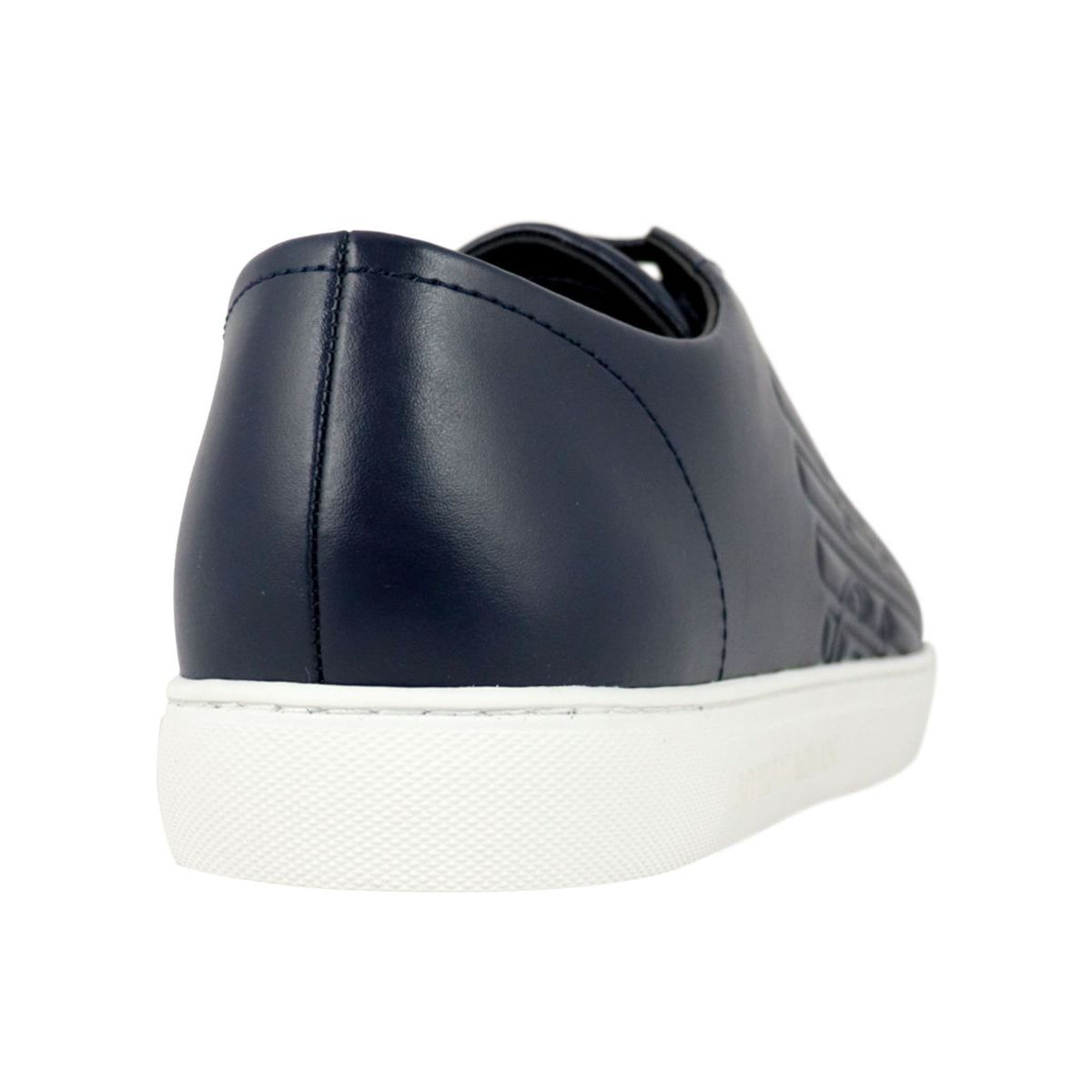 Smooth leather sneakers with logo Night blue Emporio Armani