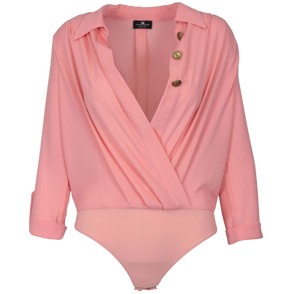 Shirt with crossed body in georgette with buttons Rose Elisabetta Franchi