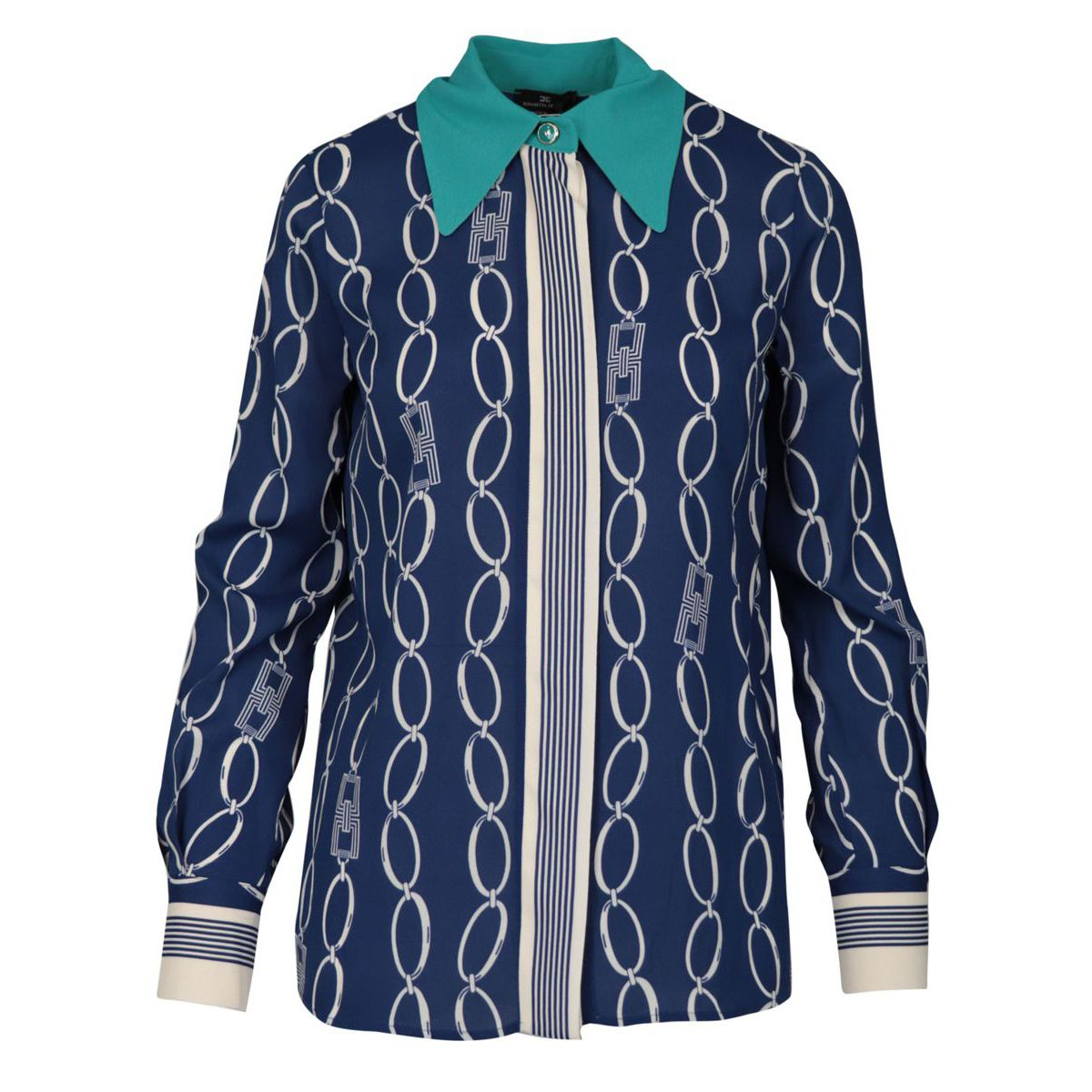 Viscose shirt with chain print Blue / chalk Elisabetta Franchi