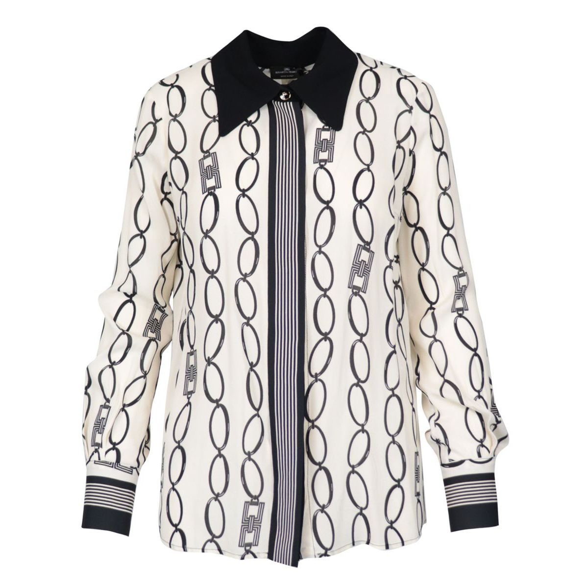 Viscose shirt with chain print Butter / black Elisabetta Franchi