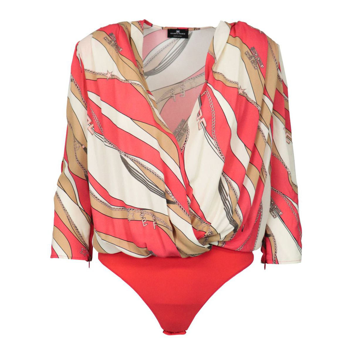 Body shirt in silk with foulard print Pink / brown Elisabetta Franchi