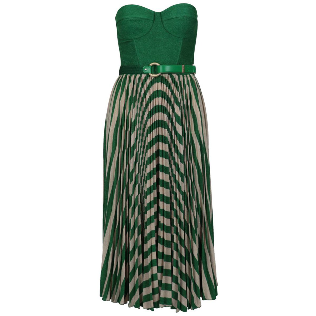 Laminated jersey dress with pleated skirt Mint Elisabetta Franchi