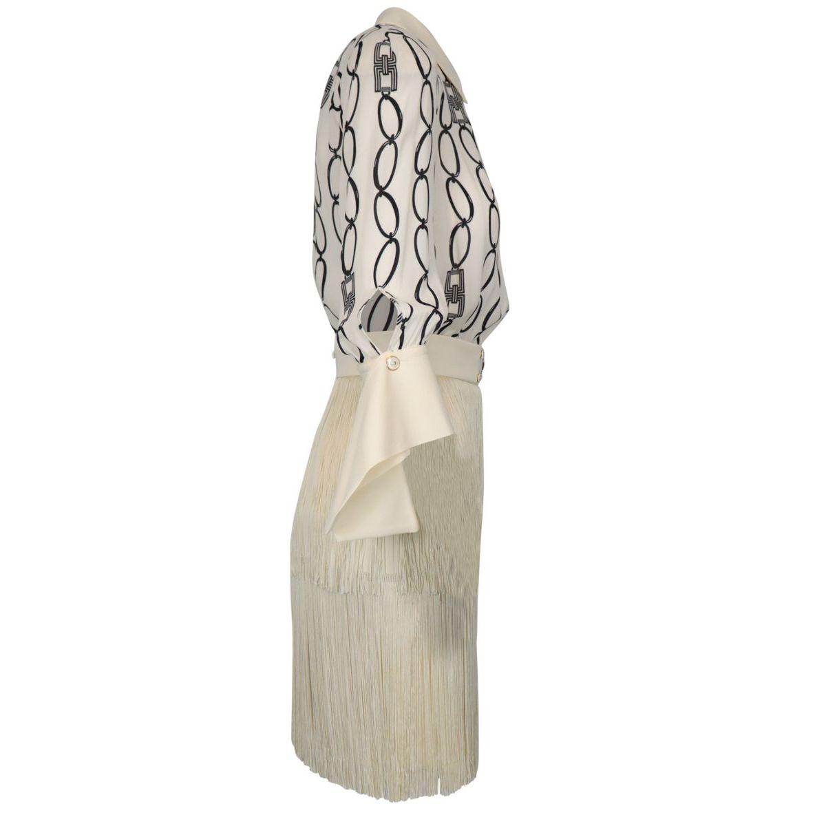 Georgette and crepe dress with fringes Butter / black Elisabetta Franchi