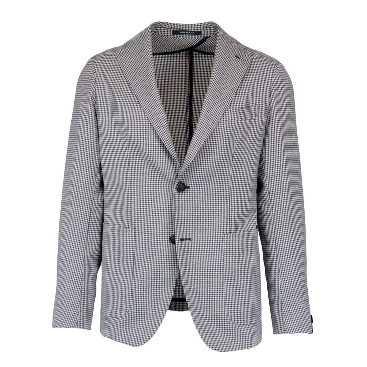Two-button wool jacket with houndstooth pattern Blue Tagliatore