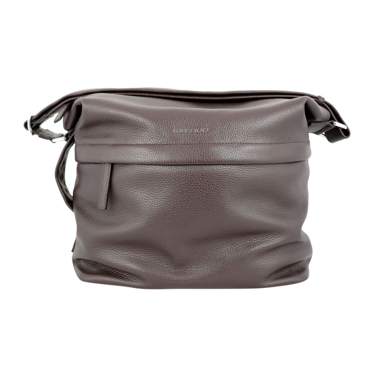 Shoulder bag in textured leather Ebony Orciani