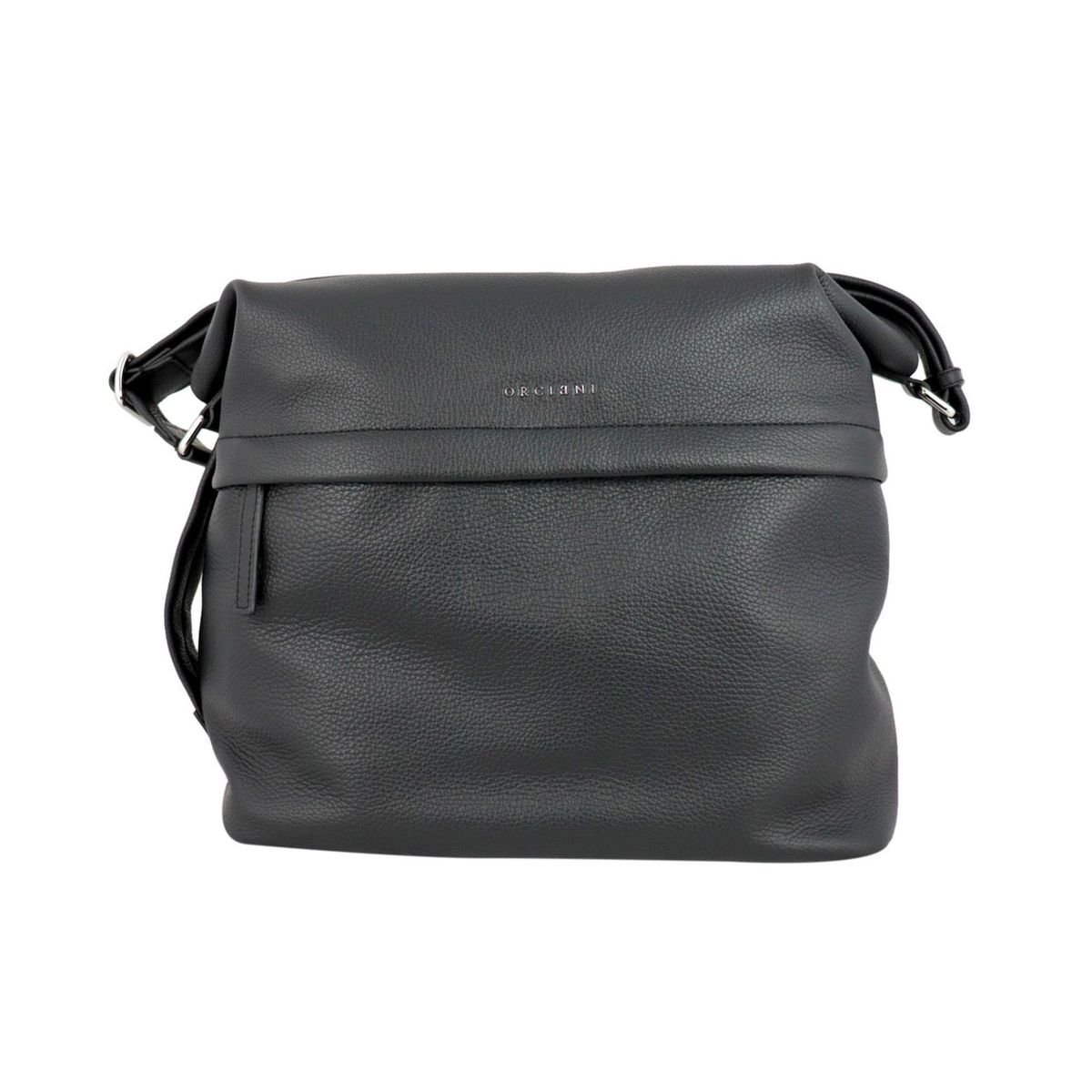 Shoulder bag in textured leather Black Orciani