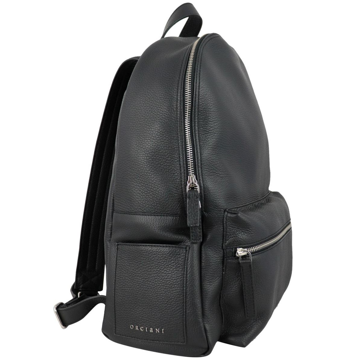 Set City Micron backpack in textured leather Black Orciani