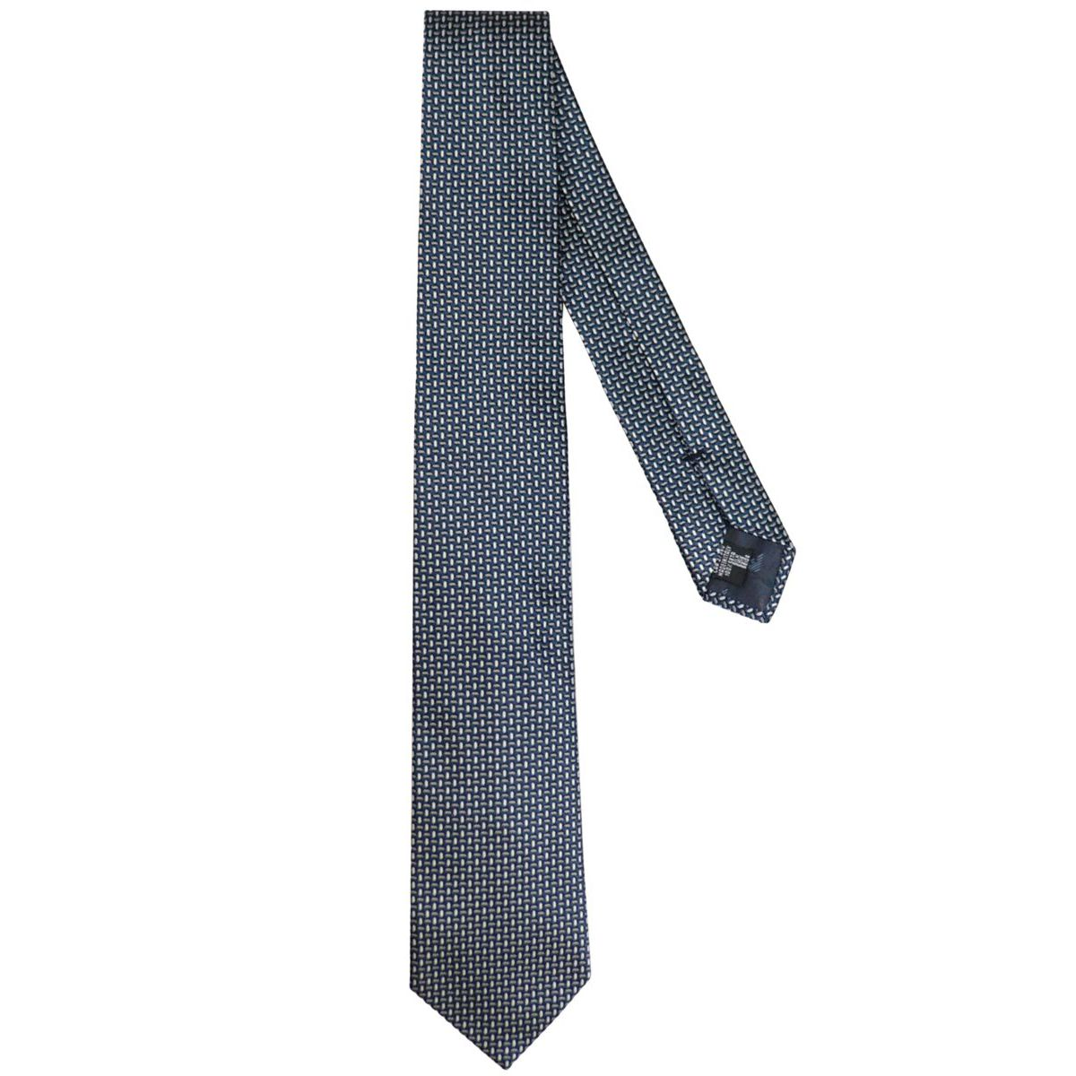 Woven micro patterned silk tie Blackboard Emporio Armani