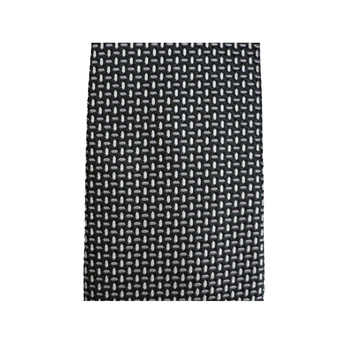 Woven micro patterned silk tie Black Emporio Armani