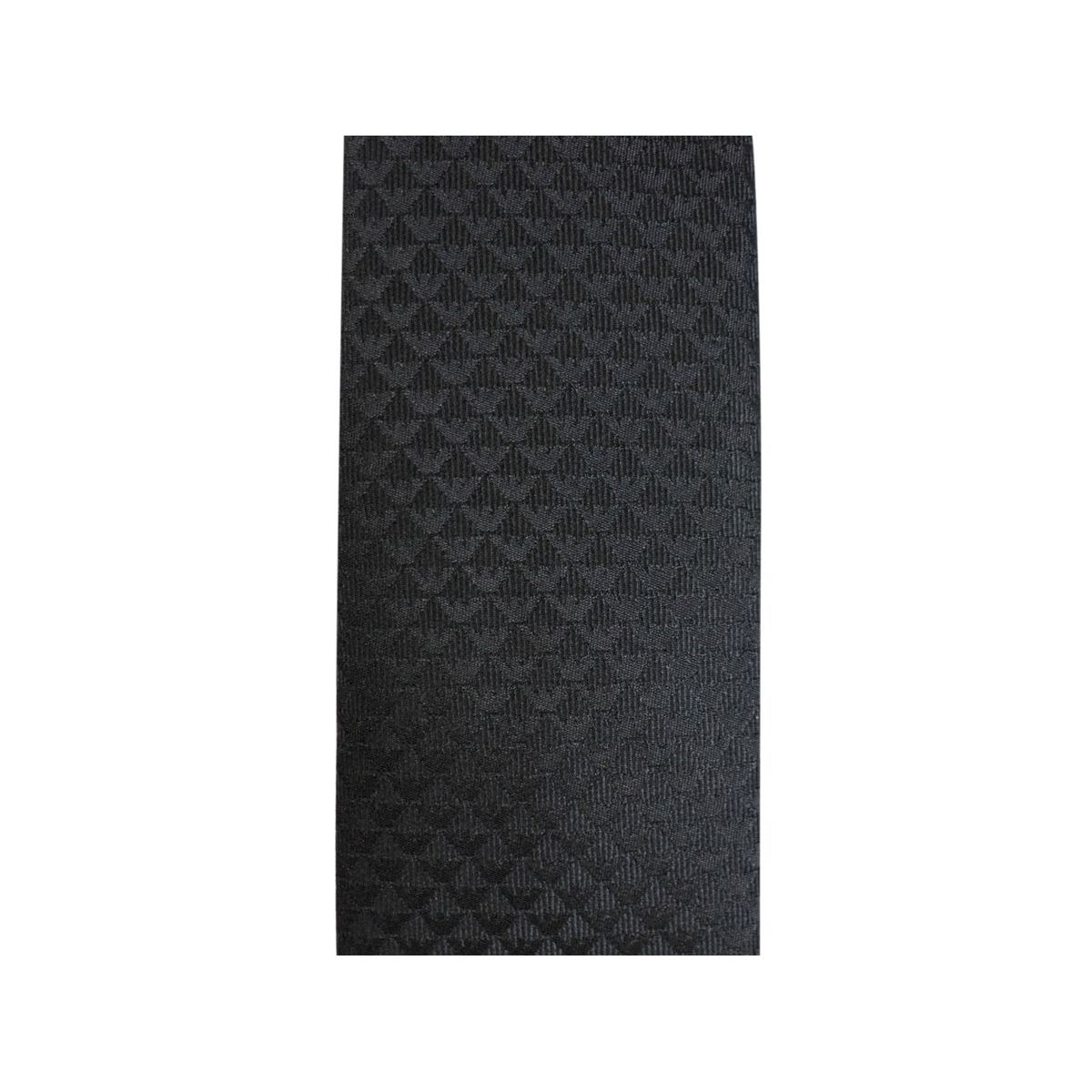 Tie in tone-on-tone micro-pattern silk Black Emporio Armani