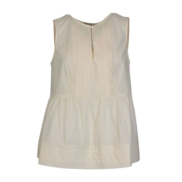 Sleeveless poplin top with ruffle and macramé lace details White Twin-Set