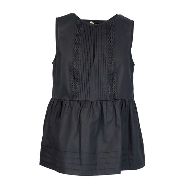 Sleeveless poplin top with ruffle and macramé lace details Black Twin-Set