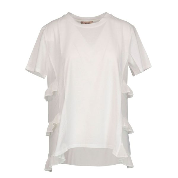 Short-sleeved cotton T-shirt with side ruffles Optical white Twin-Set