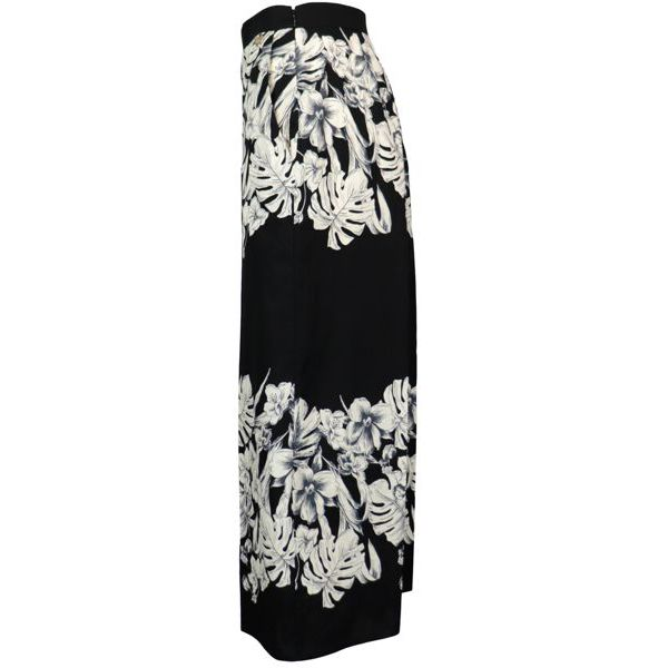 Wide cropped trousers in cotton with floral print Black / butter Twin-Set