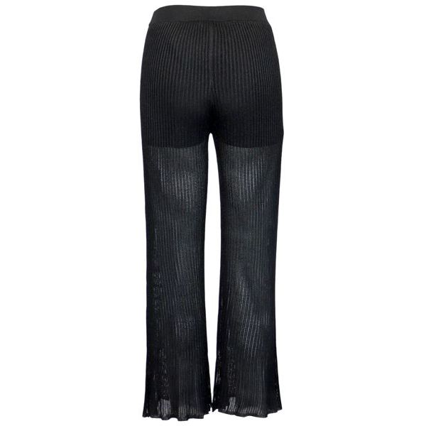 Cropped knitted trousers with elastic waistband Black Twin-Set