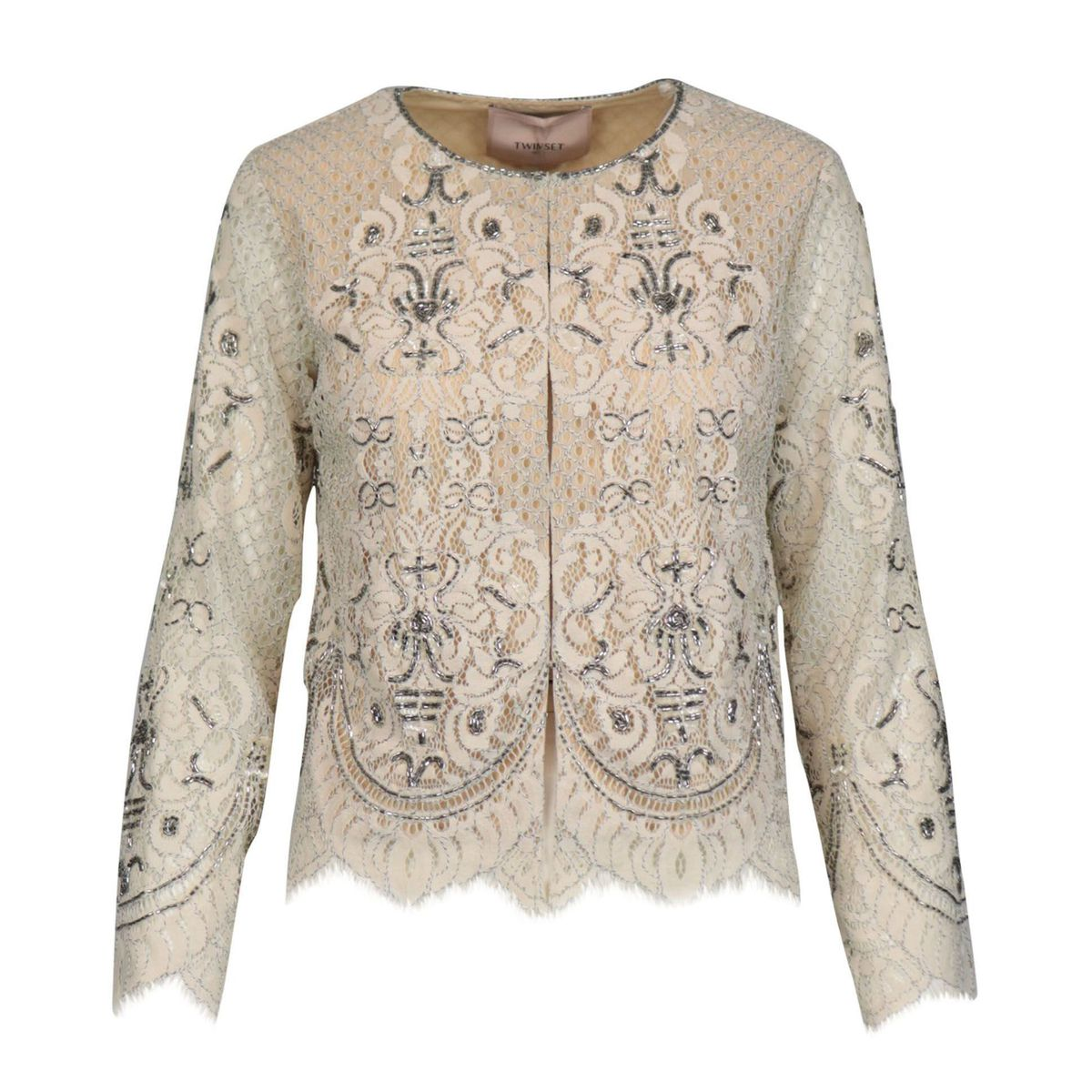 Korean jacket in rébrodé lace with embroidery Ivory Twin-Set