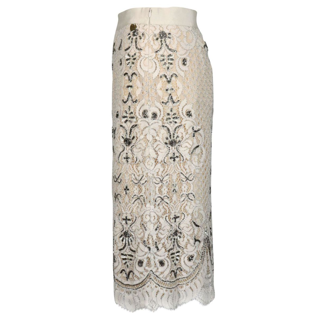 Rébrodé lace skirt with embroidery and scalloped hem Ivory Twin-Set