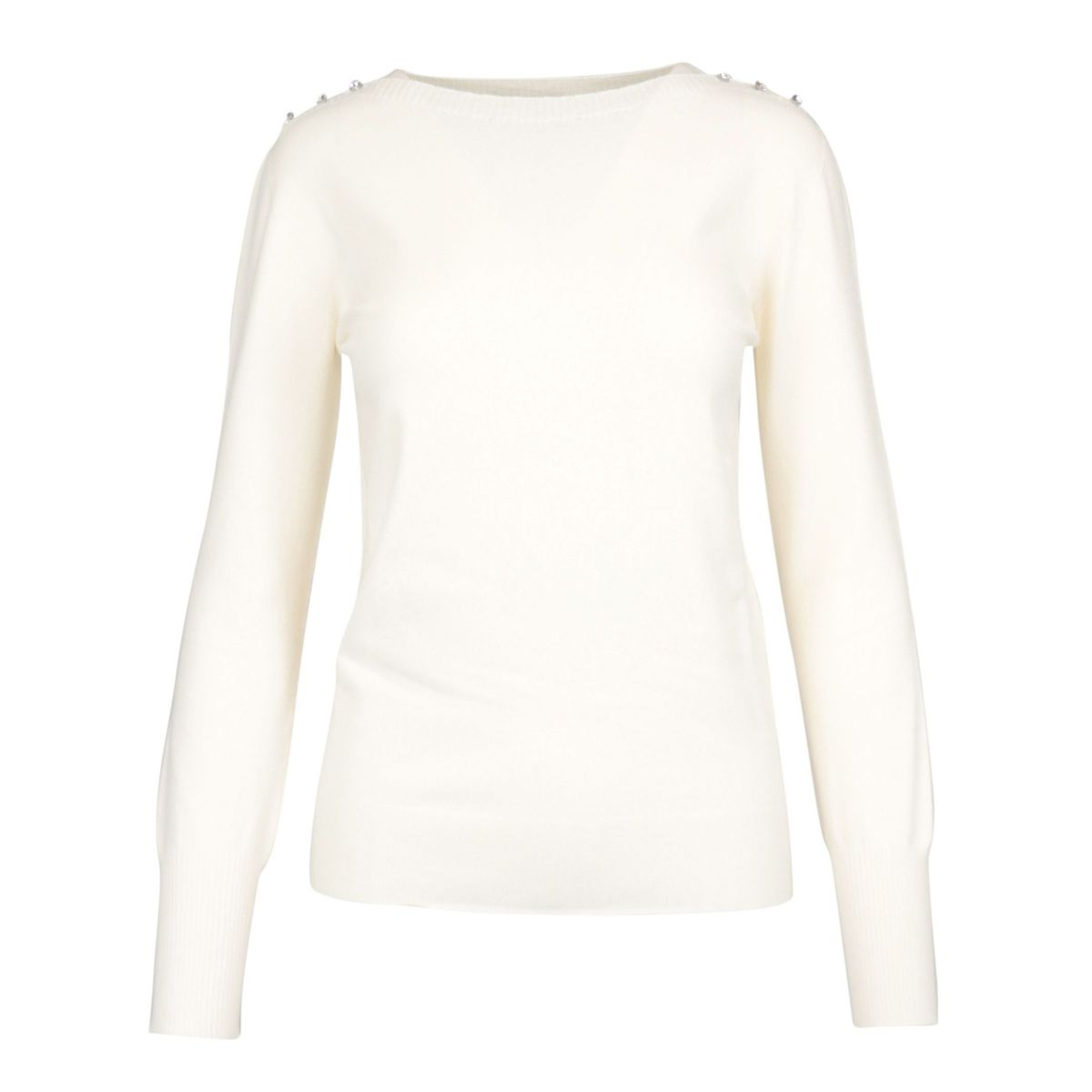 Viscose sweater with buttons applied on the shoulders White Twin-Set