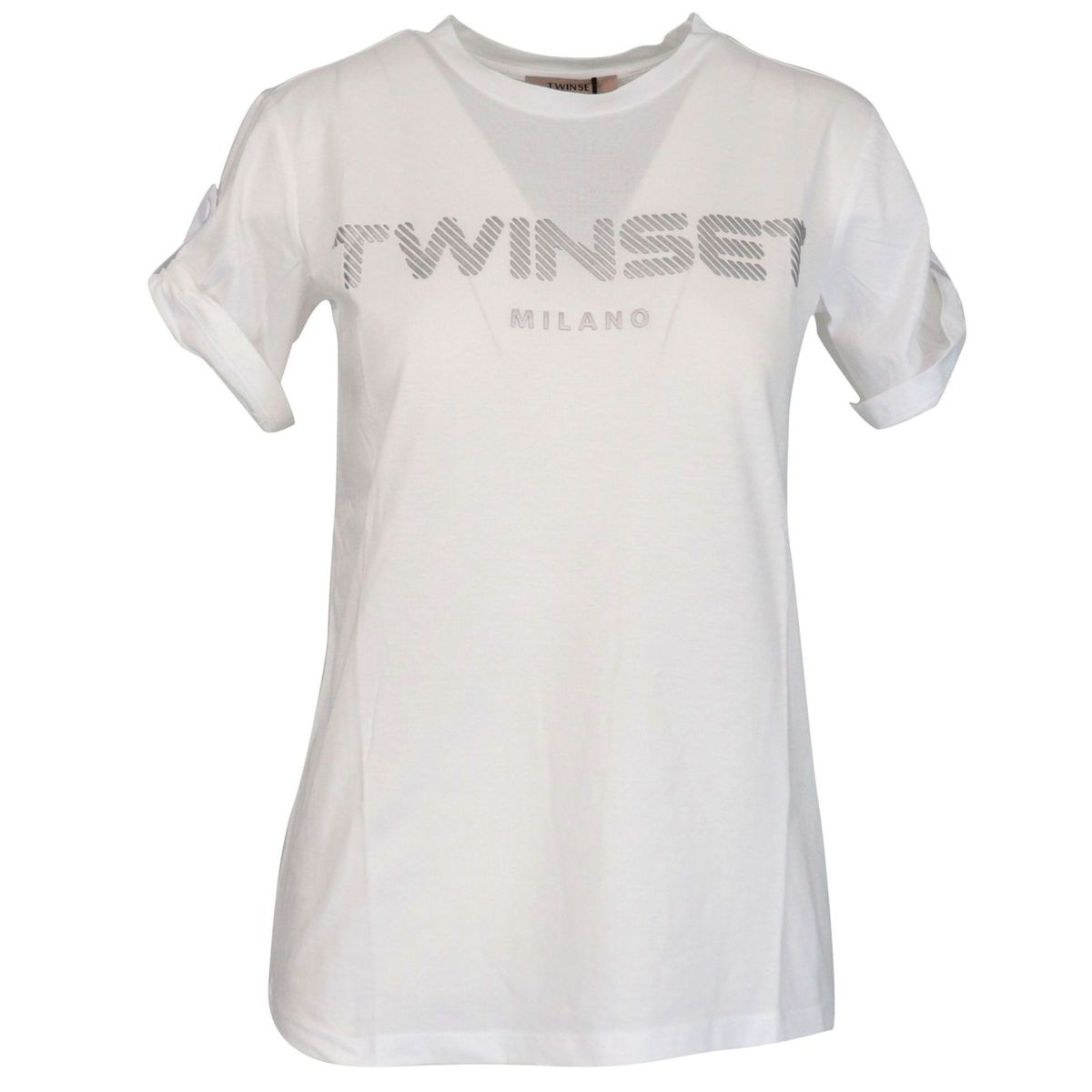 Cotton jersey T-shirt with embossed logo Optical white Twin-Set