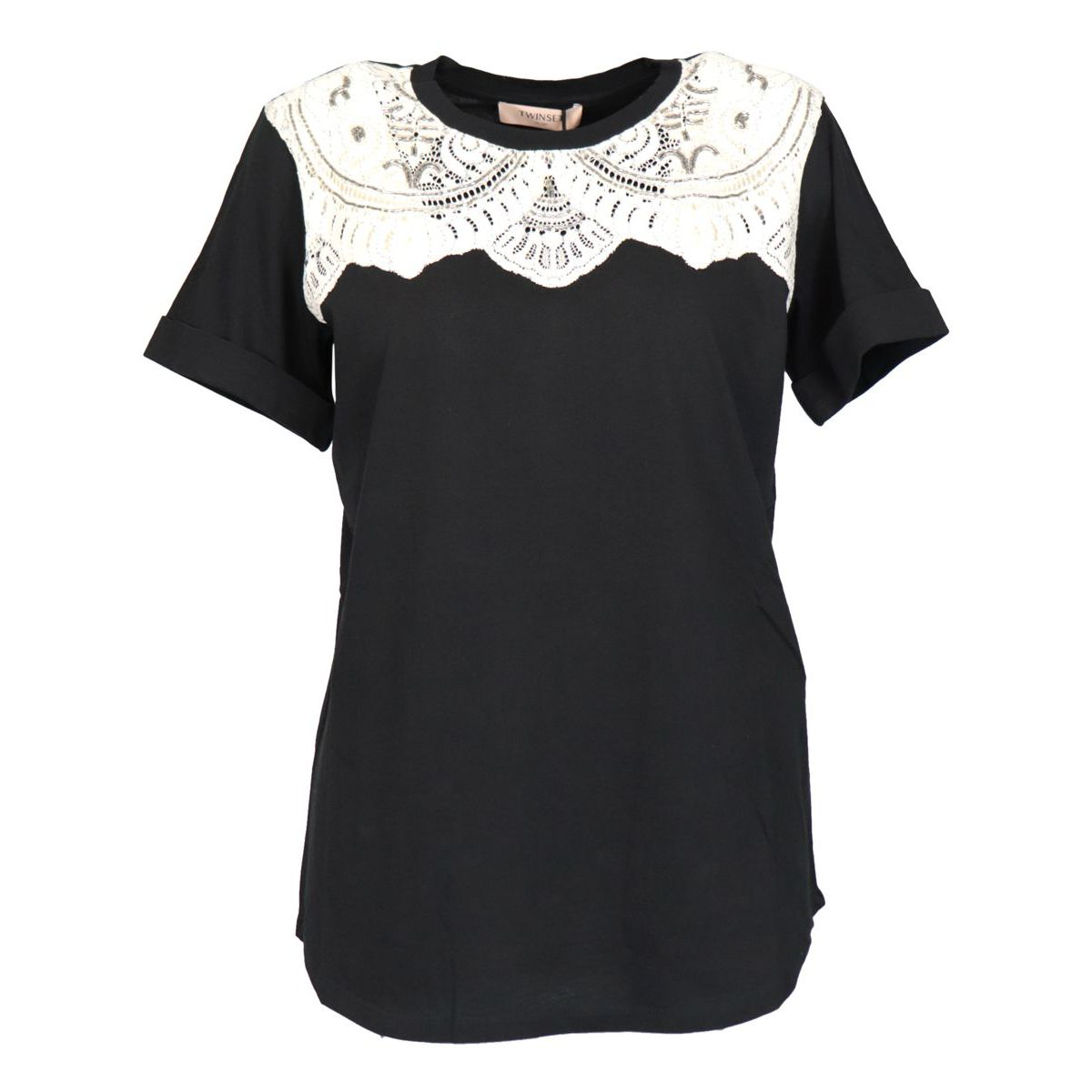 Cotton jersey T-shirt with lace inlay Black Twin-Set