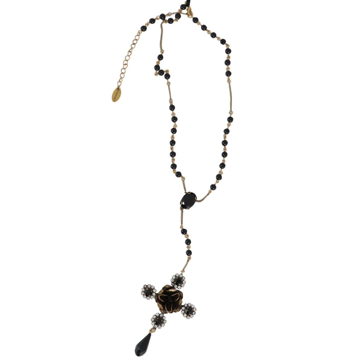 Metal rosary necklace with floral cross and pendant Black Twin-Set