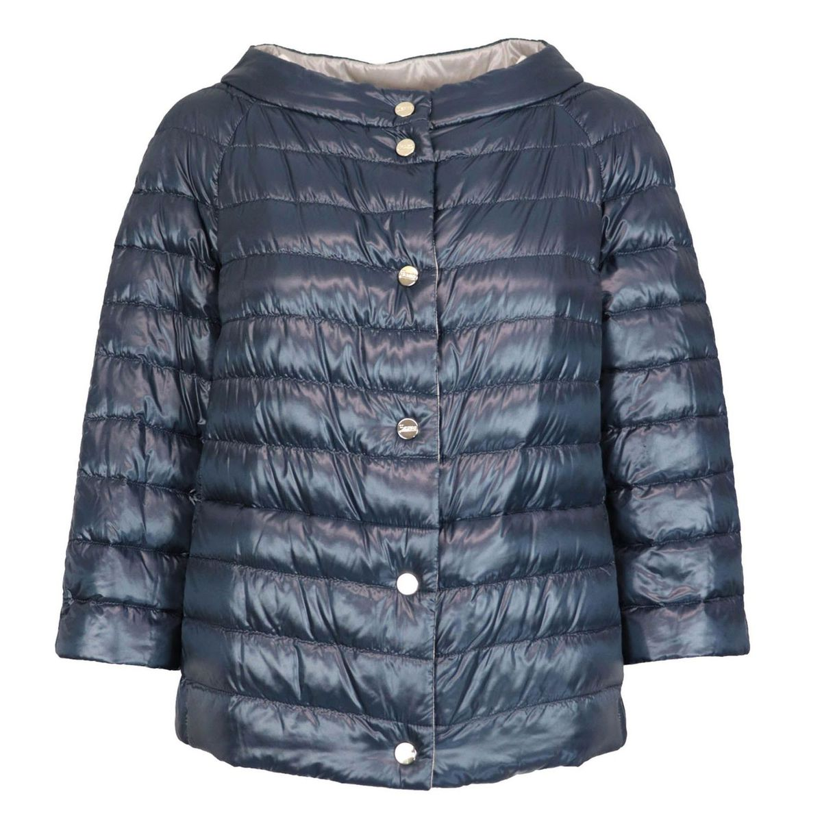 Reversible feather cape with Korean neckline and three-quarter sleeves Blu-dove Herno