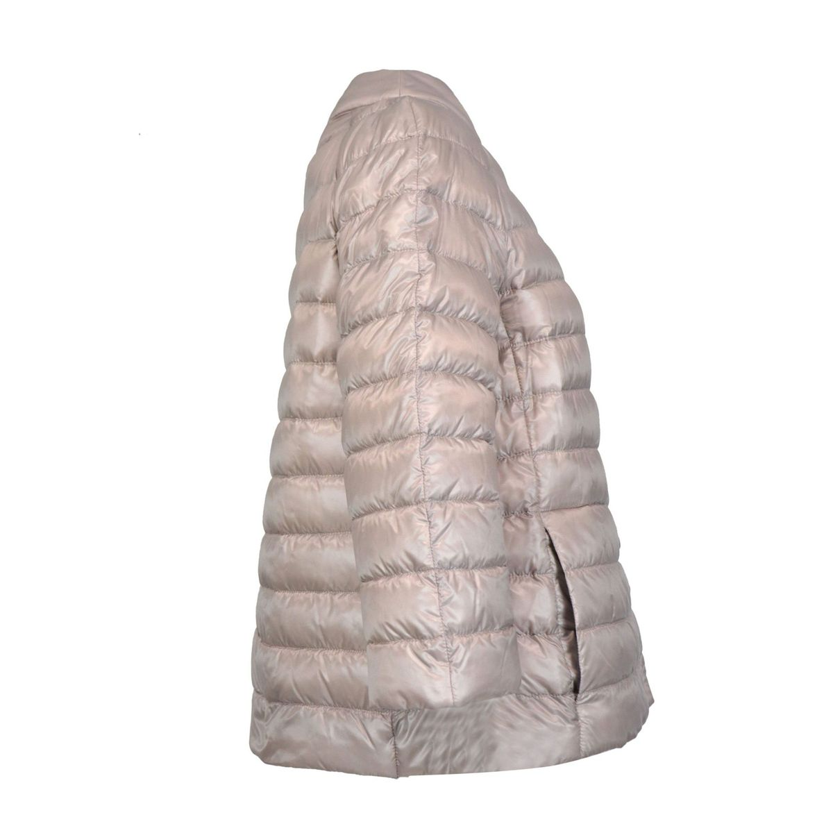 Reversible feather cape with Korean neckline and three-quarter sleeves Powder / gray s Herno