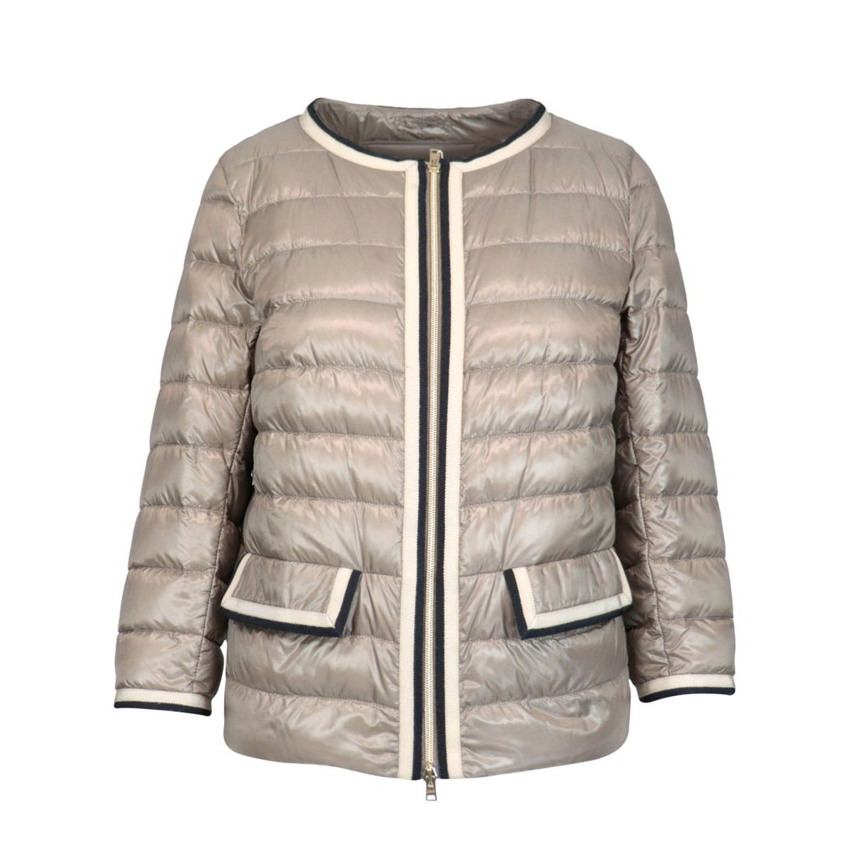One hundred grams down jacket with Korean neckline and contrasting finishes Light turtle dove Herno