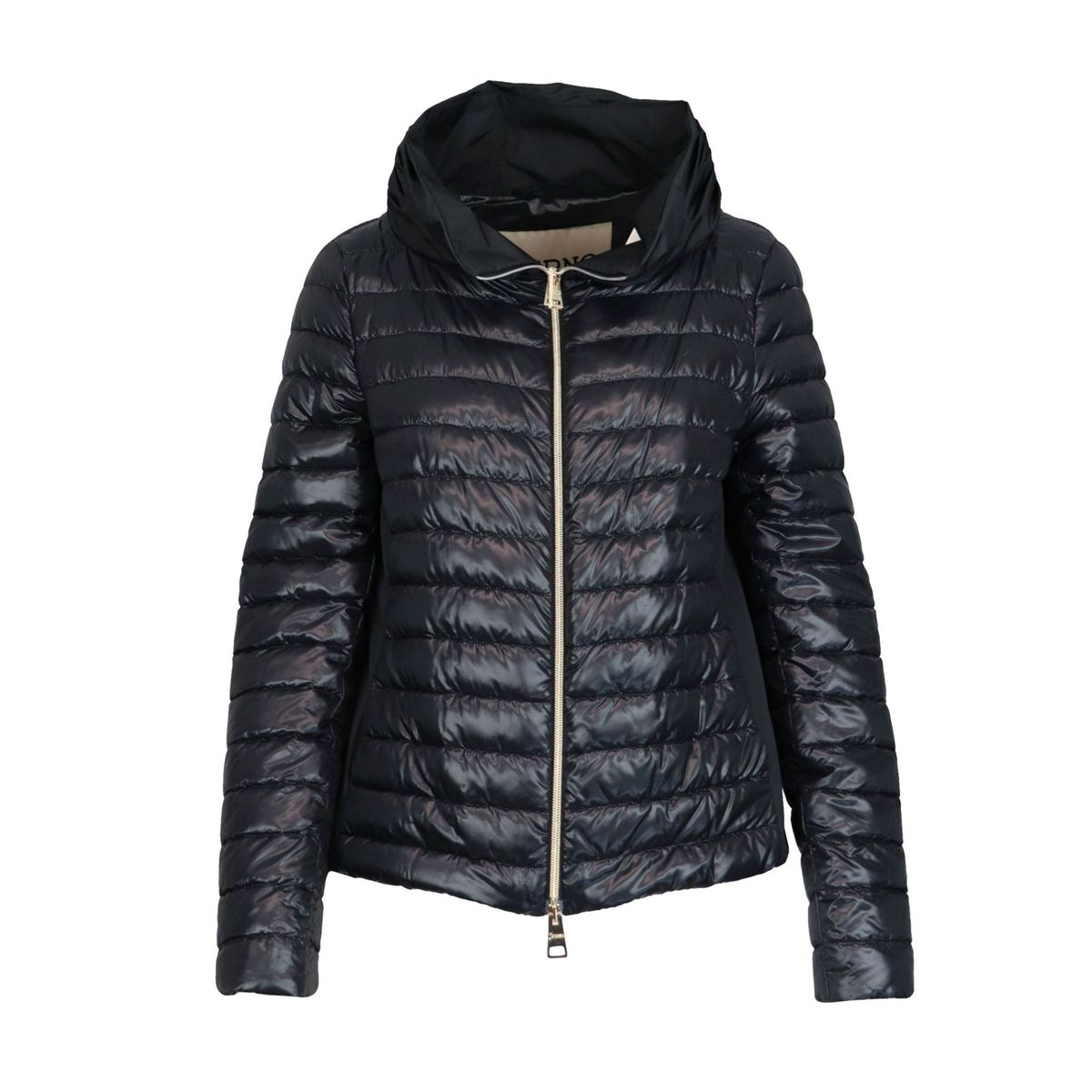 One hundred grams down jacket with ring collar and nylon back Black Herno