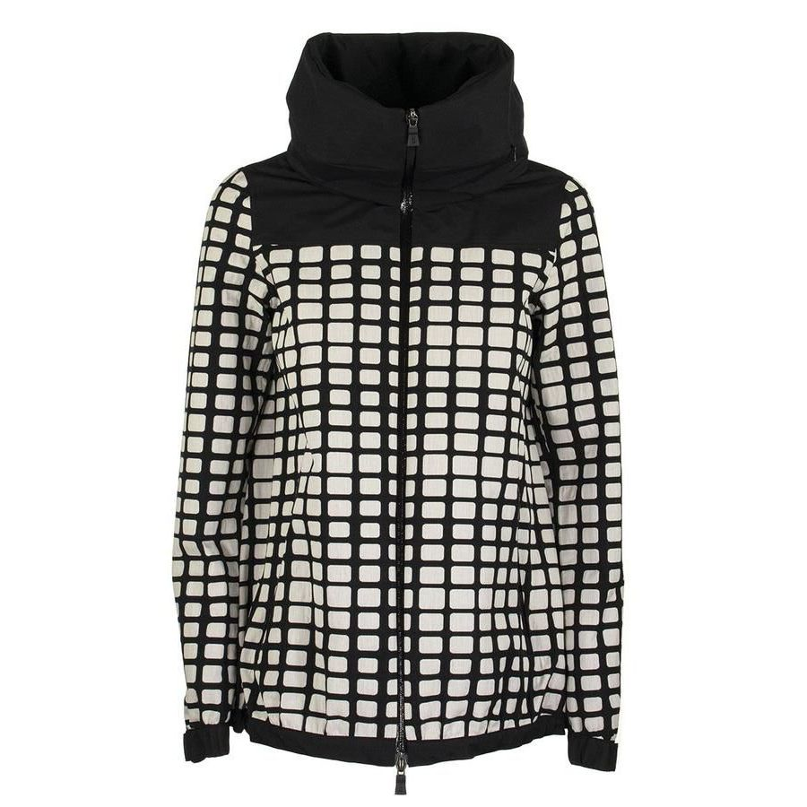 Jacket with hidden hood in drip-proof cotton Black white Herno