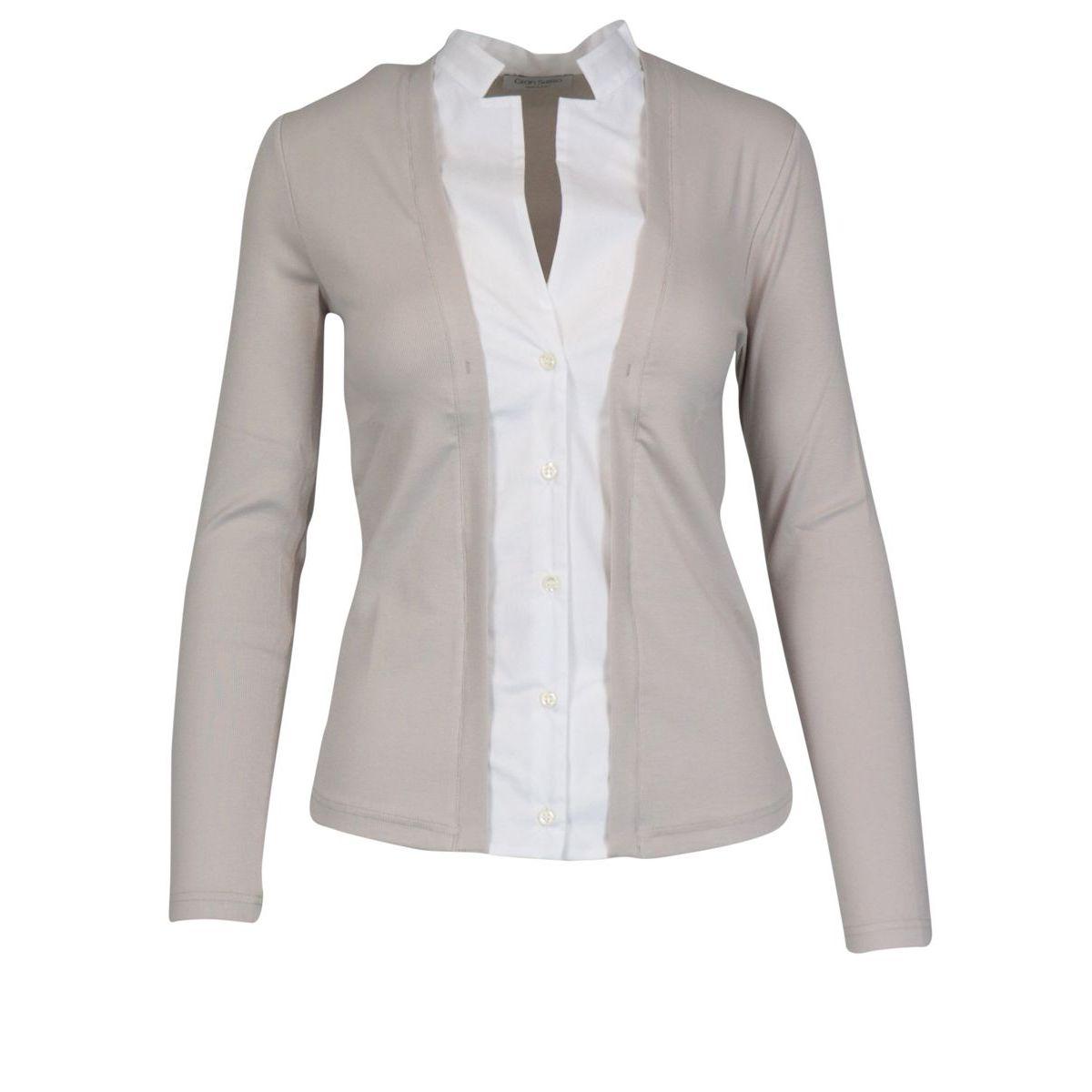 Sweater with fake shirt in stretch cotton Powder / white Gran Sasso