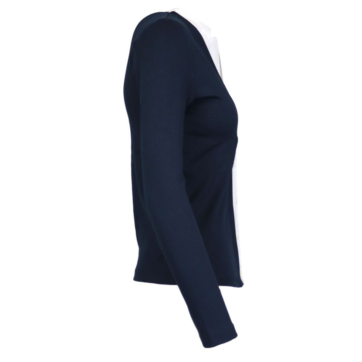 Sweater with fake shirt in stretch cotton Navy / white Gran Sasso