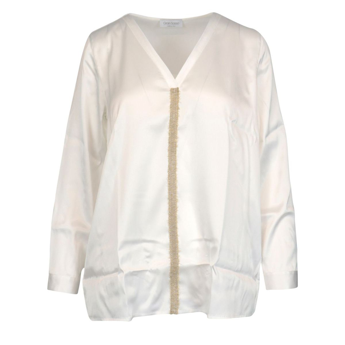Shirt with silk blend trimmings Optical white Gran Sasso