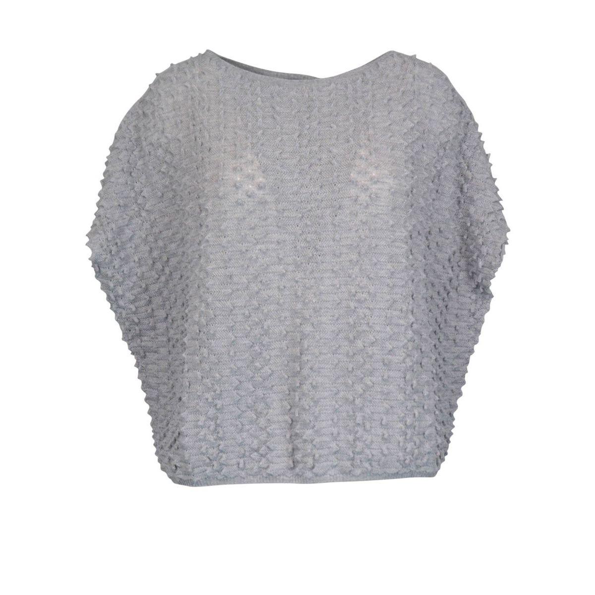 Virgin wool sweater with relief work Light grey Gran Sasso