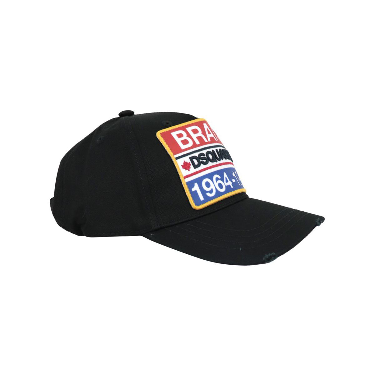 Cotton baseball hat with logo patch Black Dsquared2