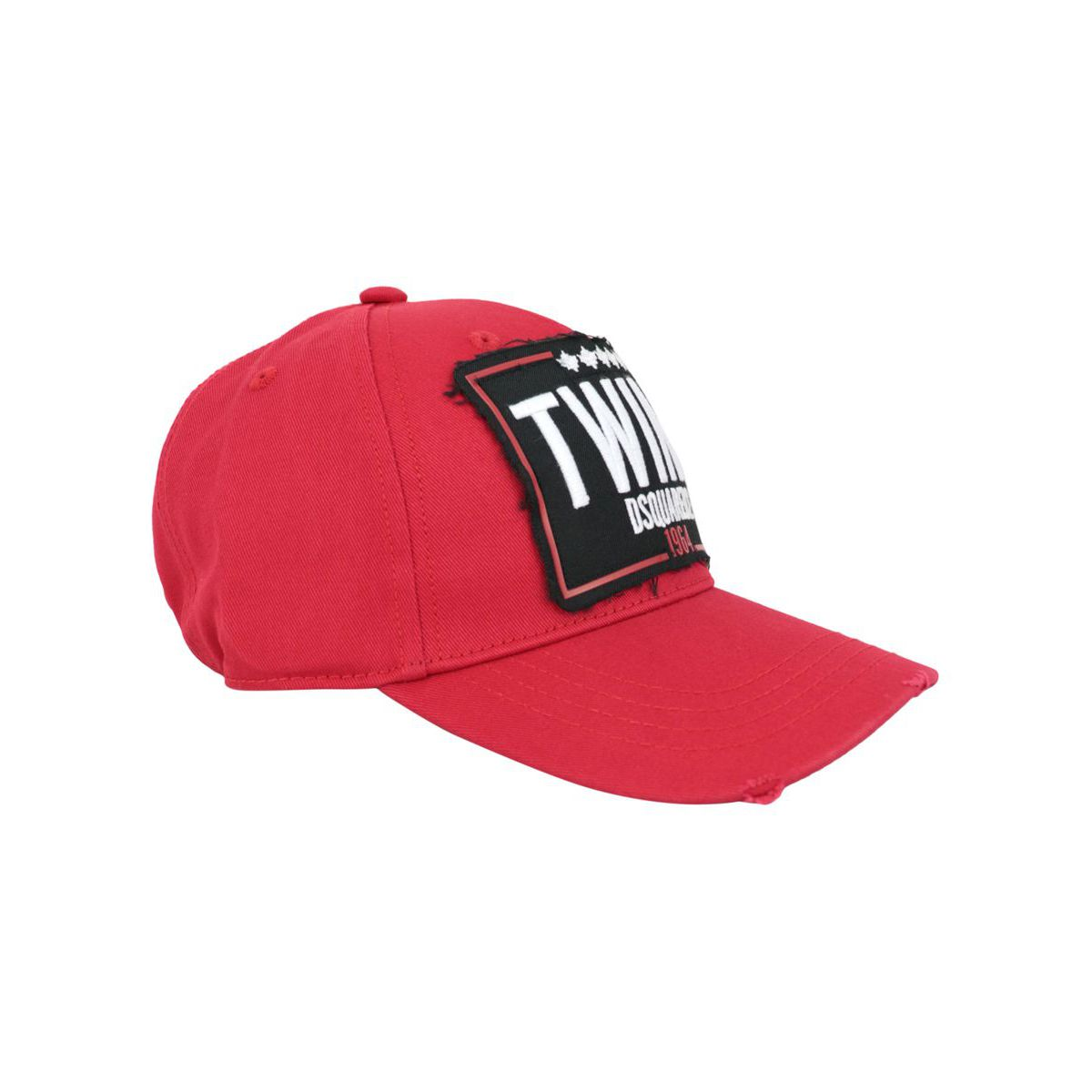 Baseball hat with contrasting logo patch Red Dsquared2