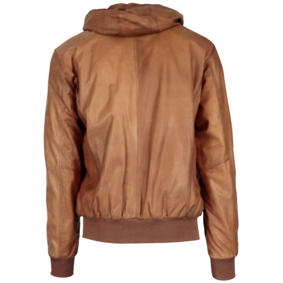 Leather bomber jacket with hood Cognac Barba Napoli