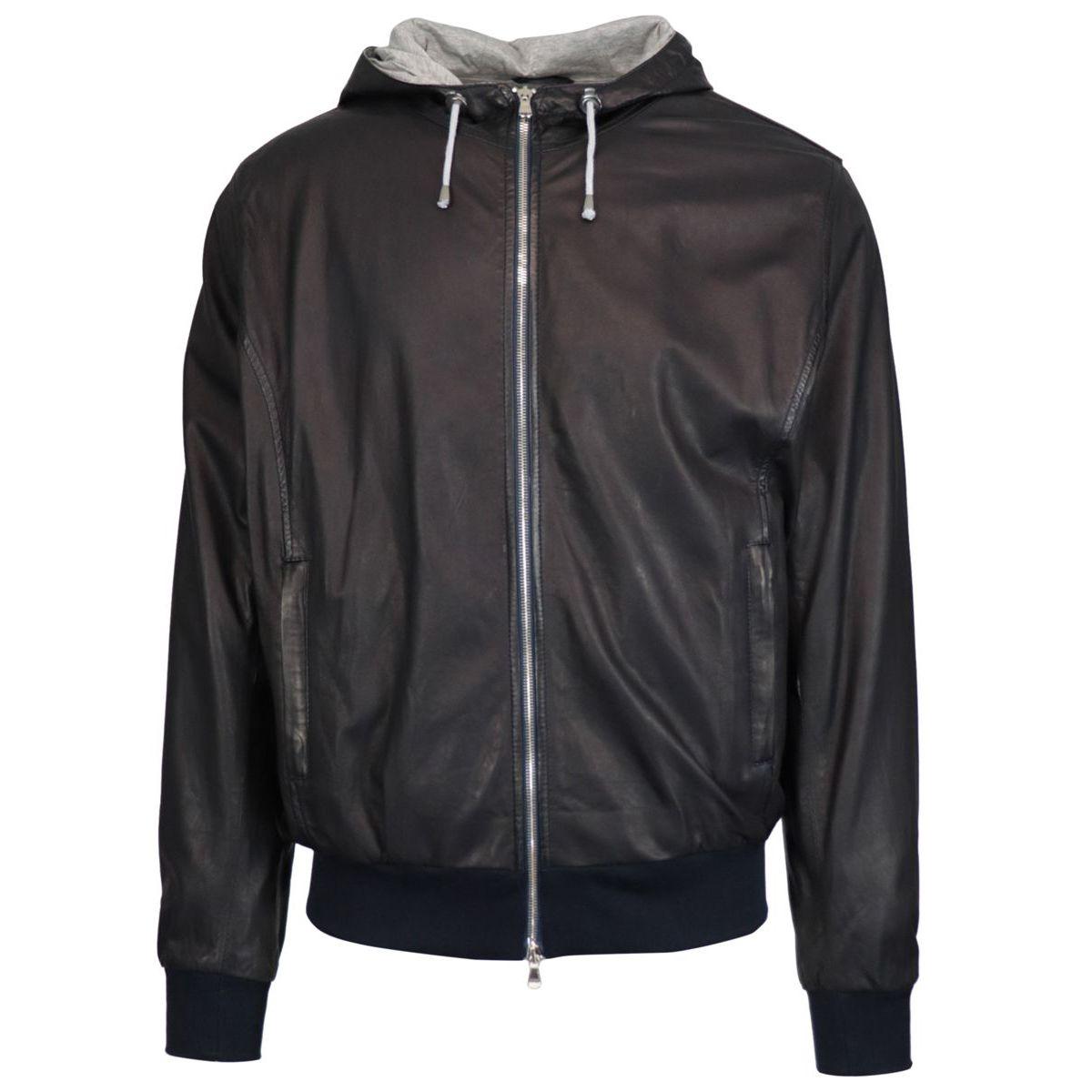 Leather bomber jacket with hood Navy Barba Napoli