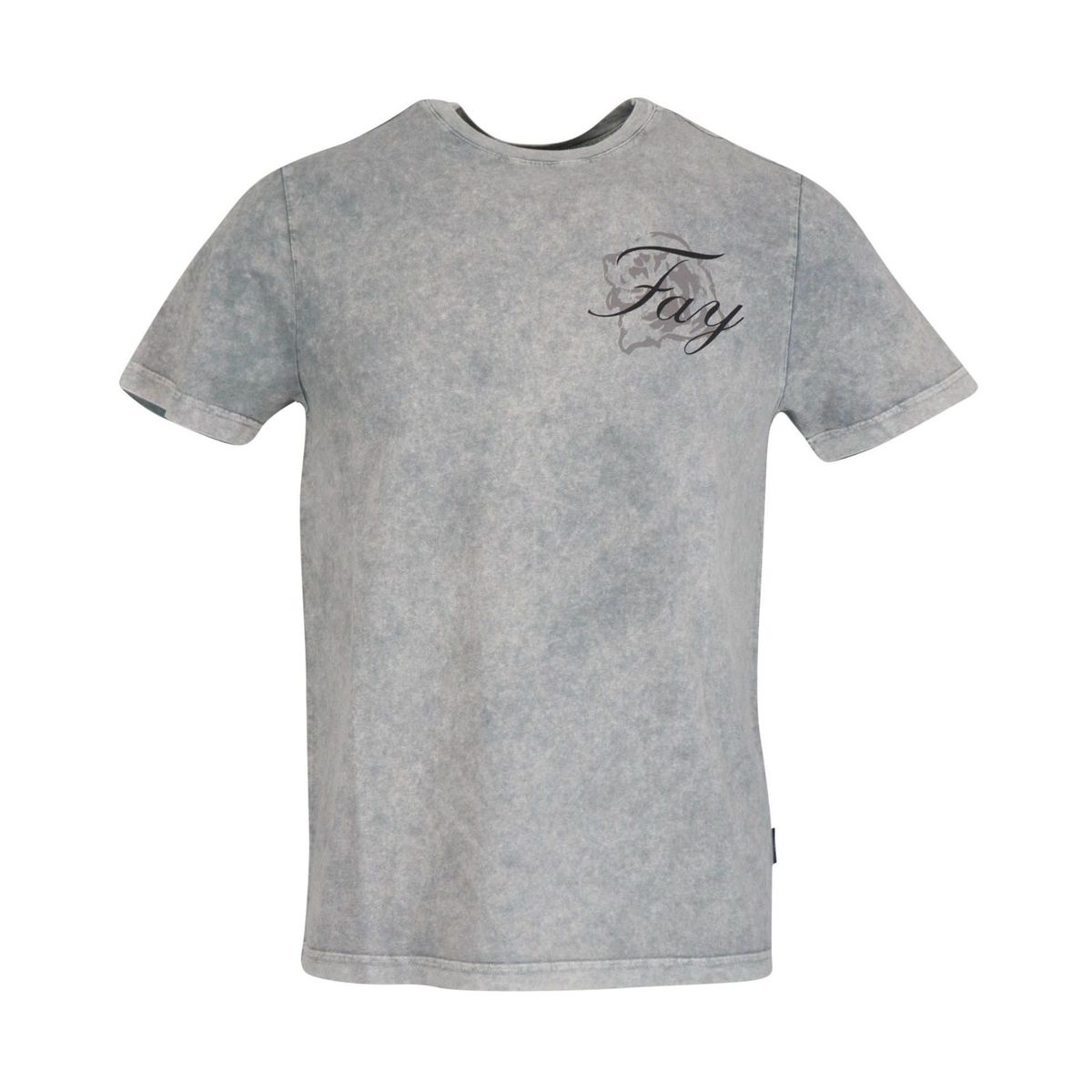 Garment dyed cotton short sleeve t-shirt Light grey Fay