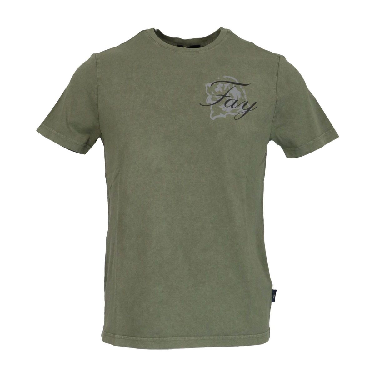 Garment dyed cotton short sleeve t-shirt Military Fay